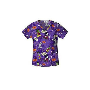 Disney Women's Franken-Mickey Halloween Scrub Top, XSmall, Purple, MK34B630