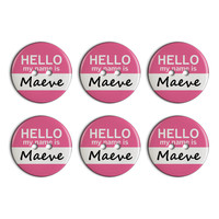 Maeve Hello My Name Is Plastic Resin Button Set of 6