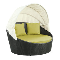 Siesta Outdoor Rattan Canopy Bed in Espresso Peridot