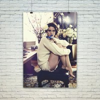 Lana Del Rey Wiht Floral and Bird Poster Print Wall Decor Canvas Print - piegabags.com