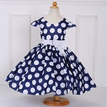 Hot Style V-Neck Princess Evening Baby Dress With Bow Big DOT Pattern Birthday Party Dresses For Little Girls L616