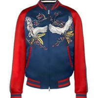 Indie Designs Crane Embroided Satin Skajan Souvenir Jacket