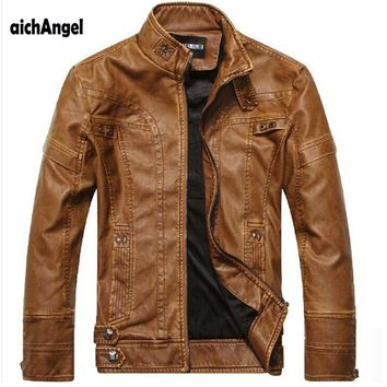 Trendy aichAng Motorcycle Leather Jackets Men Autumn Winter Leather Clothing Men Leather Jackets Male Business casual Coats AT_94_13