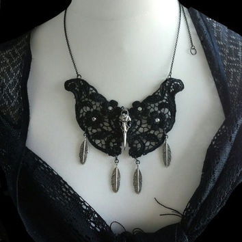 Handmade OOAK silver raven skull with black lace statement necklace