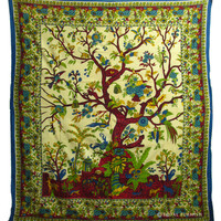 Queen Size Indian Tree of Life Hippie Wall Hanging Tapestry Coverlet on RoyalFurnish.com