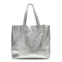 J.Crew Womens Downing Tote In Metallic Leather