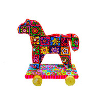 Horse sculpture decoration  Art -Animal -Sculpture- Horse on wheels  - home design-polymer clay -Israeli art
