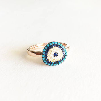 Rose Gold Evil Eye Ring • Blue Evil Eye Ring • Adjustable ring • Evil eye jewelry • Protection Ring • Large Evil Eye | 0042RM
