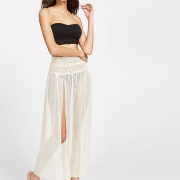 Beige Eyelet Lace High Slit Two Way Wear Swimsuit Cover Up