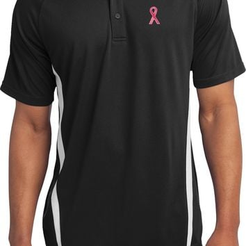 Breast Cancer Colorblock Polo Sequins Pink Ribbon Pocket Print