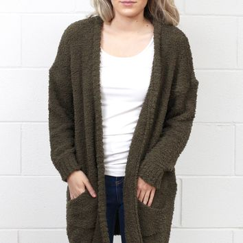 Cozy Wubby Oversized Cardigan {Olive} EXTENDED SIZES