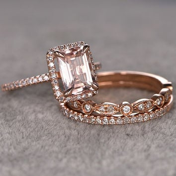 3pcs Morganite Bridal Ring Set,Engagement ring Rose gold,Diamond wedding band,14k,Emerald Cut,Gemstone Promise Ring,Pave Set,Art Deco Ring