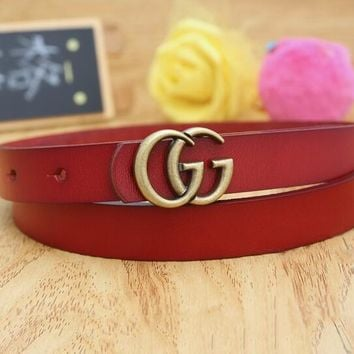 "Hot Sale ""GUCCI"" Fashionable Woman Men Casual Smooth Buckle Leather Belt Red"