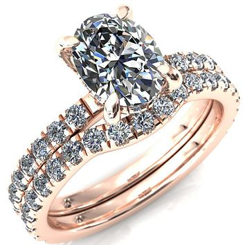 Daneli Oval Moissanite 4 Claw Prong Micro Pave Diamond Sides Engagement Ring