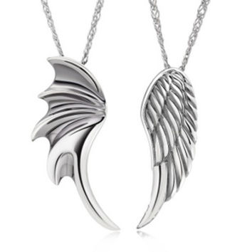 18K White Gold Plated 2 Piece Dragon and Angel Wing Couple Pendant Necklace Set