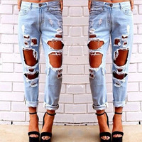 Ripped Jeans for Women American Apparel beading and holes cross-pants plus size XL