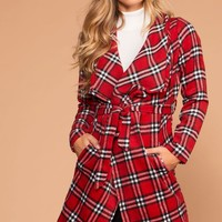In Charge Red Plaid Wrap Coat