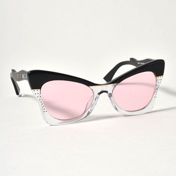 1950s Style Black & Clear Ethel Butterfly Sunglasses