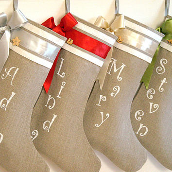 Personalized Christmas stockings in burlap by KatysHomeDesigns