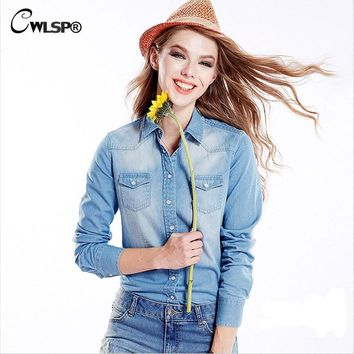 CWLSP Plus Size Women's Denim Shirts Blouses New Spring Autumn Femme Long Sleeve Turn-Down Collar Fitted Denim Top Jeans