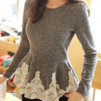 Gray Lace Long Sleeve T-Shirt