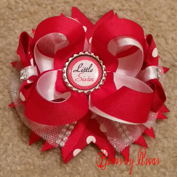 Red and White with Polka Dots Boutique Stacked Hair Bow with Glitter Tulle, Rhinestones,  and Little Sister Bottle Cap