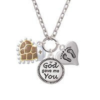 Brown Giraffe Print Heart with Nurse Hat - God Gave Me You & Baby Feet Heart - Zoe Necklace