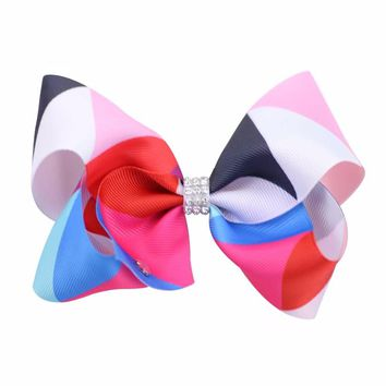 Children Rainbow Color Gradient Ribbons Row Drill  Diamond Hair Ornaments A