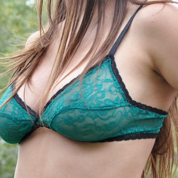 Turquoise Bralette, sheer bralette, see through bra, see through lingerie, see through bra, valentine's gift, bridal lingerie, size 34B