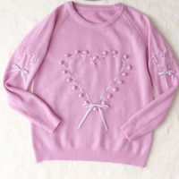 Sweet lilac and pink ribbon heart jumper