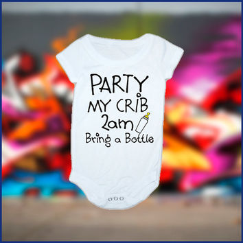 Party at My Crib Inspired baby Onesuit
