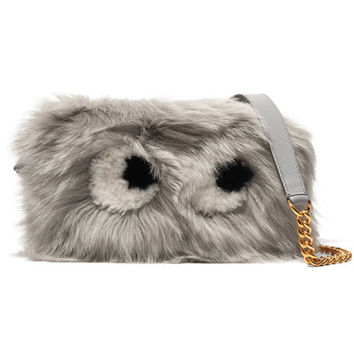 Anya Hindmarch - Eyes mini shearling and leather shoulder bag