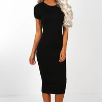 Little Basic Black Short Sleeve Jersey Midi Dress