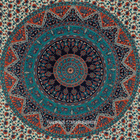 Gray Multicolor Bohemian Mandala Cloth Fabric Tapestry Bedspread on RoyalFurnish.com