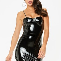 kendra black high shine vinyl pu bralette dress