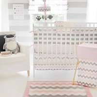 My Baby Sam Chevron 3 Piece Crib Bedding Set, Pink/Gray