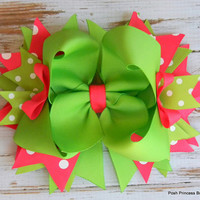 Girls hair bows Hair bows for girls Headband Pink Green Stacked hair bow Boutique bows for girls babies toddlers