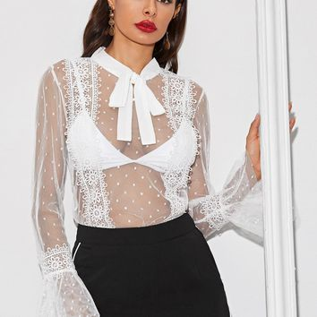 Swiss Dot Tie Neck Lace Insert Sheer Mesh Top Without Bra
