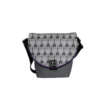 grey flowers pattern messenger bag