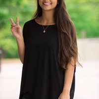 The Perfect Piko Short Sleeve Top-Black