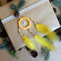 Dreamcatcher, Yellow Dream catcher, Car Dream catcher, Car Mirror Hanger, Rear View Mirror Dream Catcher, Car Mirror Charm, Car Decor