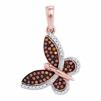 10k Rose Gold Women's Red Diamond Butterfly Pendant - FREE Shipping (US/CA)