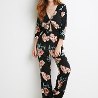Self-Tie Knotted Floral Jumpsuit