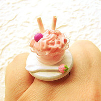 Ice Cream Kawaii Food Ring Strawberry Candy by SouZouCreations