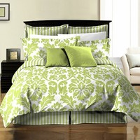 Chezmoi Collection 8-Piece Soft Microfiber Reversible White Green Leaf/Stripe Bed in a Bag Comforter with Sheet Set, Queen