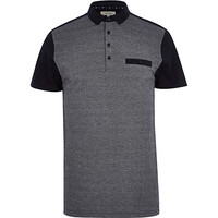 River Island MensNavy color block polo shirt