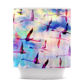 "Nikki Strange ""Flamingo in Flight"" Shower Curtain"
