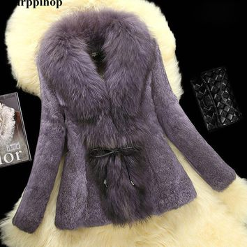 New 2016 Fashion Fur Coats plus size Real Fur Coats Women Rabbit fur coat with Raccoon Collar Outerwear & Coats free shipping