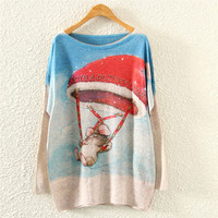 Grey Christmas Air Balloon Print Loose Sweatshirt