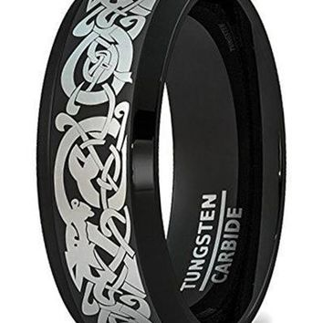 CERTIFIED 8mm Tungsten Ring Black Mens Wedding Band Curved Celtic Dragon Beveled Edge